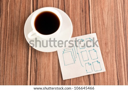 Folders on a napkin and cup of coffee - stock photo