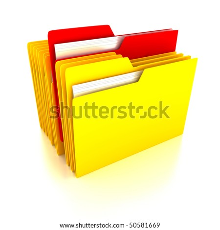 Folders over white background. 3d render