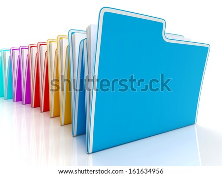 Folders Showing Organizing Documents Filing And Reports - stock photo