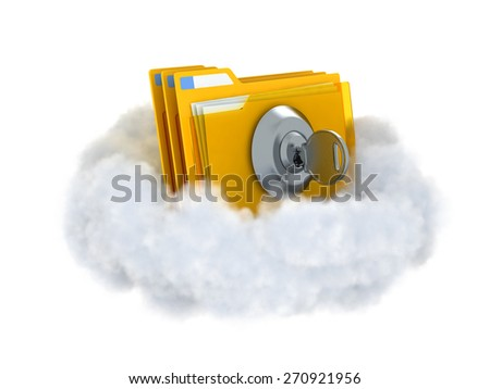 Folders with lock and key in a cloud isolated on white. Cloud computing concept illustration. - stock photo