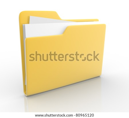 Folders with paper. This is a 3d render illustration - stock photo