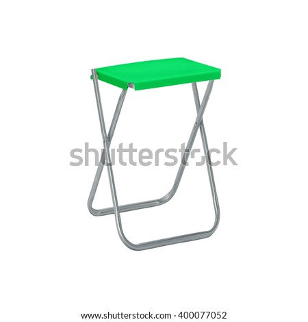 Folding camping stool isolated on white