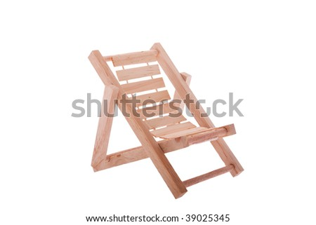 Folding chair made of wood with white background