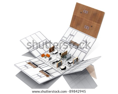 Folding of house with furniture - stock photo