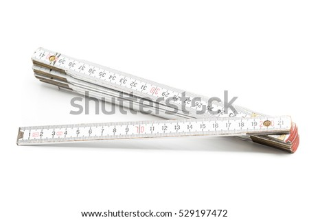 Folding rule with centimeter scale on white background