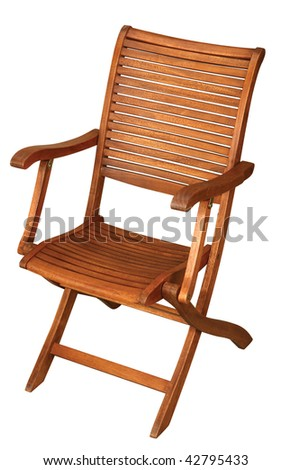 Folding wooden chair isolated on white background
