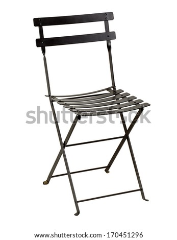 Folding wrought iron chair including clipping path on white bacground - stock photo