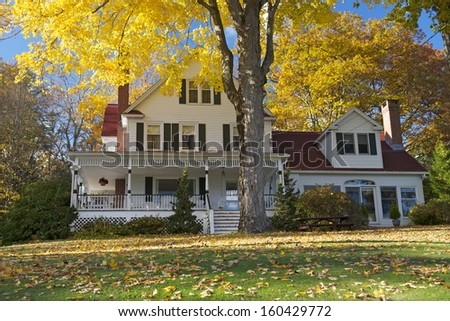 Foliage season in beautiful Connecticut, Litchfield Hills, Winsted, Ct, USA - stock photo