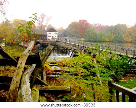 Foliage season in Sleepy Hollow Philipsburg Manor - stock photo
