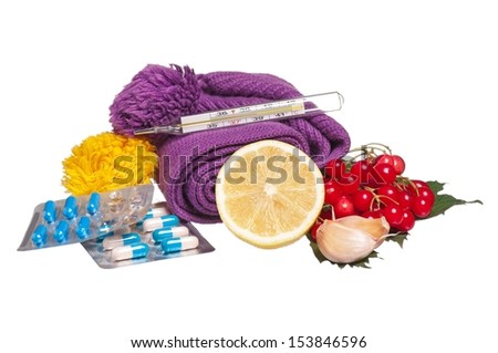 Folk and medicamentous antiviral remedies isolated on white background - stock photo