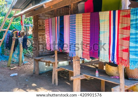 Folkways : Tribal Thailand dry clothes and fabric in the house