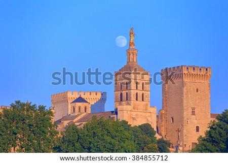 Foll moon rising above the Papal Palace (Palais des Papes) and Avignon Cathedral, Avignon, Provence, France - stock photo