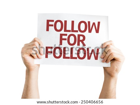 Follow for Follow card isolated on white background - stock photo