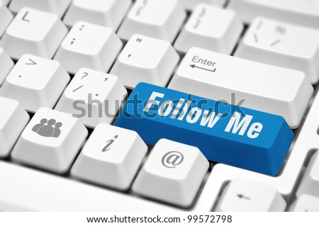 Follow Me button on the key of a computer keyboard