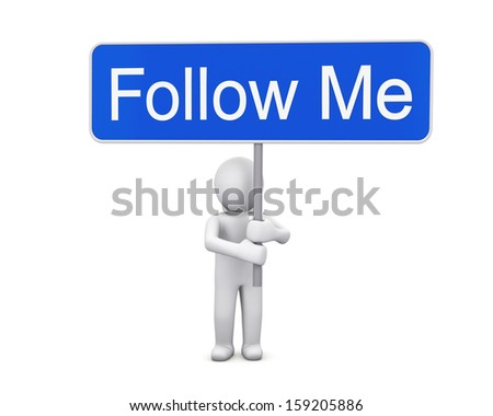 follow me like share 3d render - stock photo