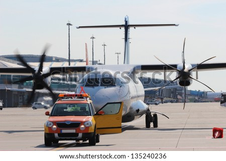 Follow me on airport - stock photo