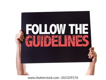 Follow the Guidelines card isolated on white - stock photo