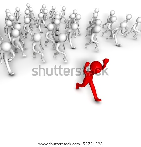 Follow the Leader. Three-dimensional,  isolated on white. - stock photo