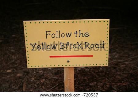 Follow the Yellow Brick Road - stock photo