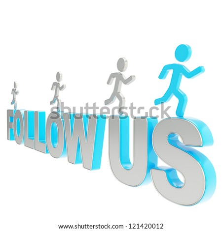 Follow us illustration: group of human symbolic figures running over the blue word isolated on white background - stock photo