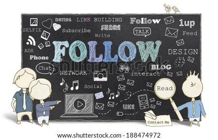 Follow with Therms of Social Media on Blackboard - stock photo