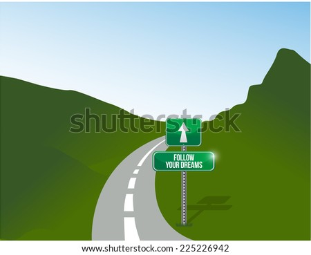 follow your dreams road illustration design background