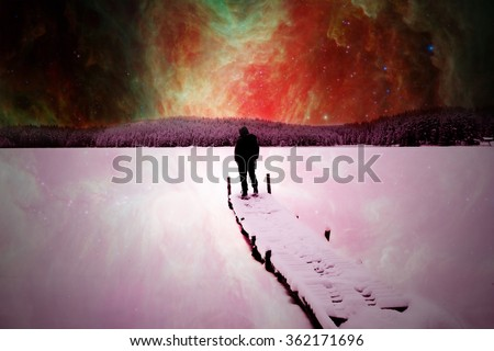 Follow your dreams, silhouette of man and many stars- elements of this image are furnished by NASA - stock photo