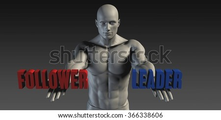 Follower or Leader as a Versus Choice of Different Belief - stock photo
