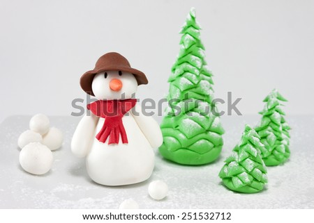 Fondantsnowman characters - stock photo