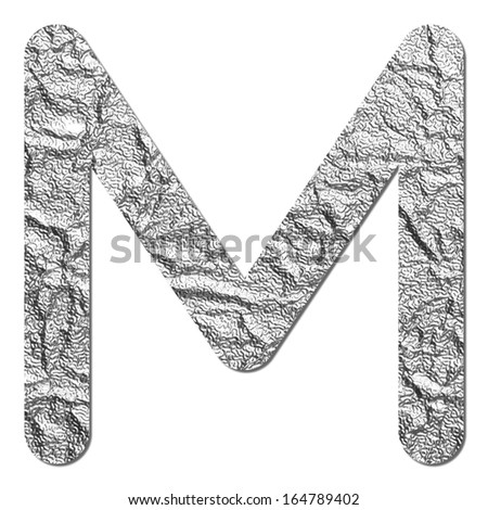 Font aluminum foil texture alphabet M with shadow and path - stock photo