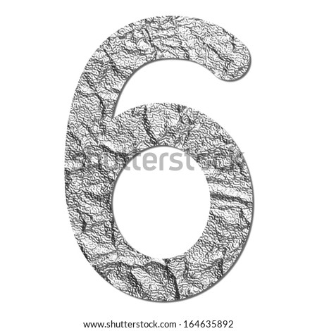 Font aluminum foil texture numeric 6 with shadow