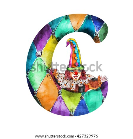 Font C Watercolor hand drawn  isolated clown on white - stock photo
