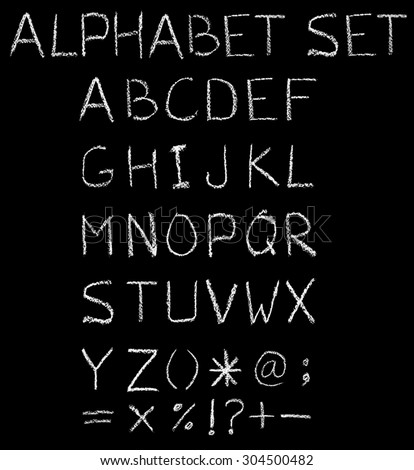 Font freehand alphabet pencil sketch. - stock photo