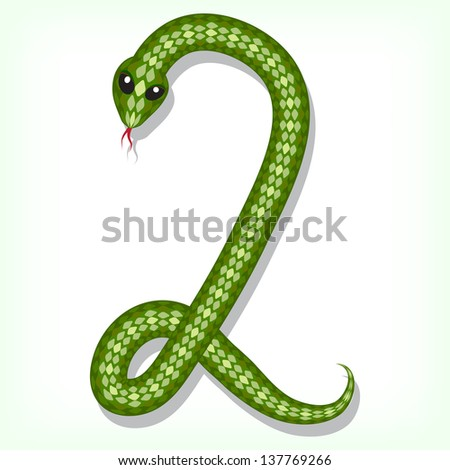Font made from green snake. Digit 2. Raster version. Vector is also available in my gallery - stock photo