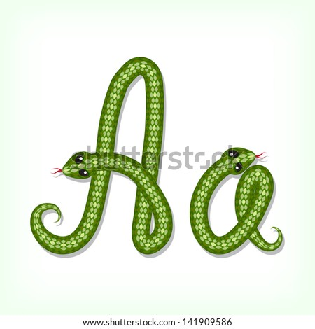 Font made from green snake. Letter A. Raster version. Vector is also available in my gallery - stock photo