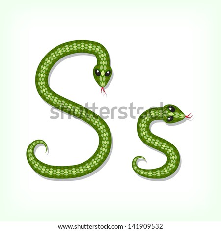 Font made from green snake. Letter S. Raster version. Vector is also available in my gallery - stock photo