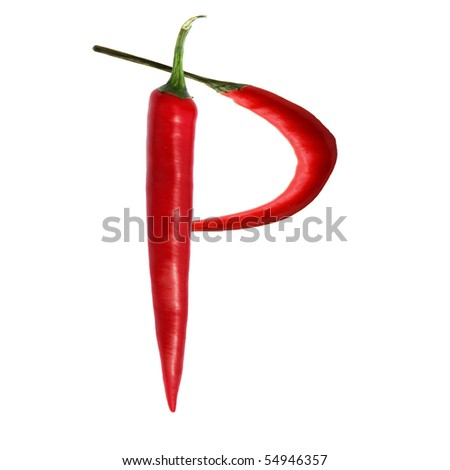 font made of hot red chili pepper isolated on white - letter P