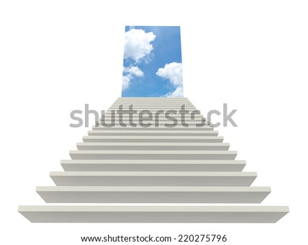 font view white staircase to the sky - stock photo