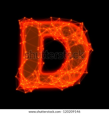 Font with glowing elements.  Letter D. - stock photo