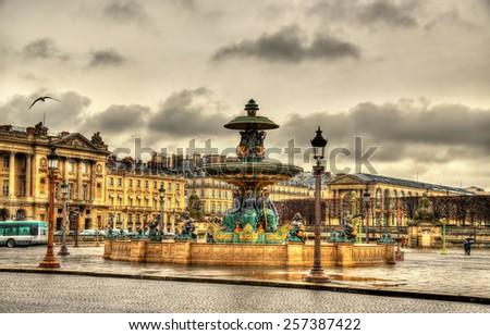 Fontaine des Fleuves on the Place de la Concorde in Paris - stock photo