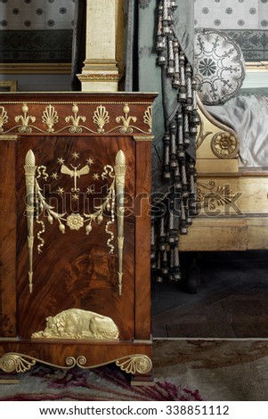 Fontainebleau, France - 16 August 2015 : Object and furniture at the Fontainebleau Palace ( Chateau de Fontainebleau ). It was added to the UNESCO list of World Heritage Sites.