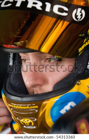 FONTANA, CA - AUG 29:  Kyle Busch waits to start practice at Auto Club Speedway for the running of the NSCS Pepsi 500 on Aug 29, 2009 in Fontana, California - stock photo