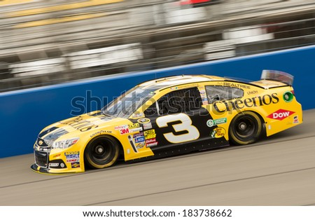 FONTANA, CA - MAR 22: Austin Dillon at the Nascar Sprint Cup practice at Auto Club Speedway in Fontana, CA on March 22, 2014