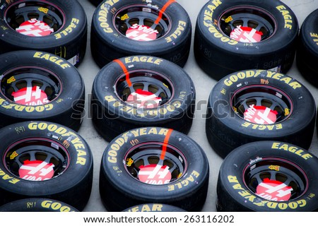 Fontana, CA - Mar 22, 2015:  The NASCAR Sprint Cup Series teams take to the track for the Auto Club 400 at Auto Club Speedway in Fontana, CA.