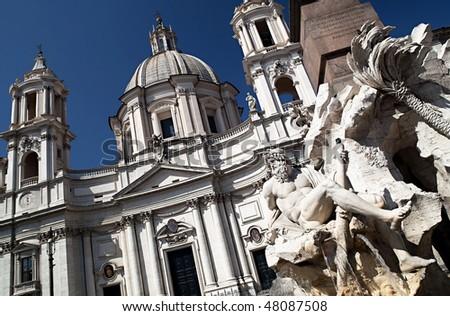 Fontana dei Quattro Fiumi, Piazza Navona, Rome, Italy - stock photo