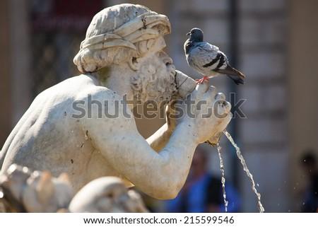 Fontana del Moro (Moor Fountain)  in Piazza Navona, Rome, Italy - stock photo
