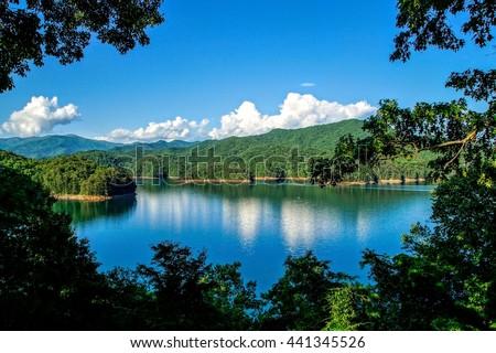 Fontana Lake at Spring Appalachian Trail, Appalachian Mountains, North Carolina - stock photo