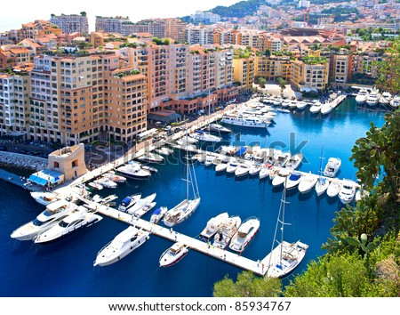 Fontvieille, new district of Monaco. panoramic view of marina. Cote d'Azur. french riviera - stock photo
