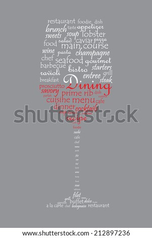Food and dining concept on a wine glass shaped word collage - stock photo