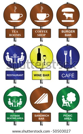 Food and drink graphic and text sign collection mounted on post - stock photo